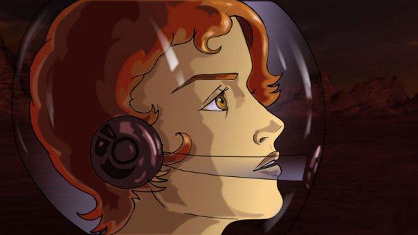 Низа Крит в шлеме, цветной рисунок